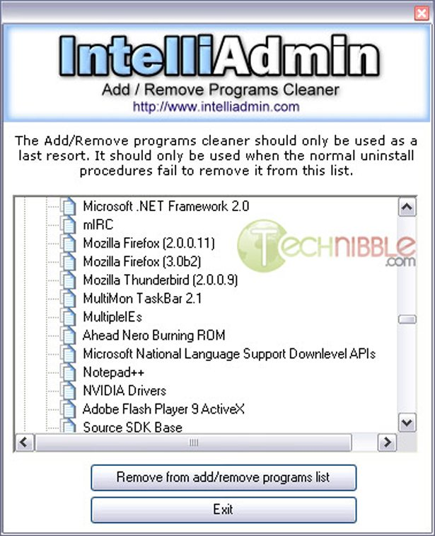 Clean Add Remove Programs Freeware