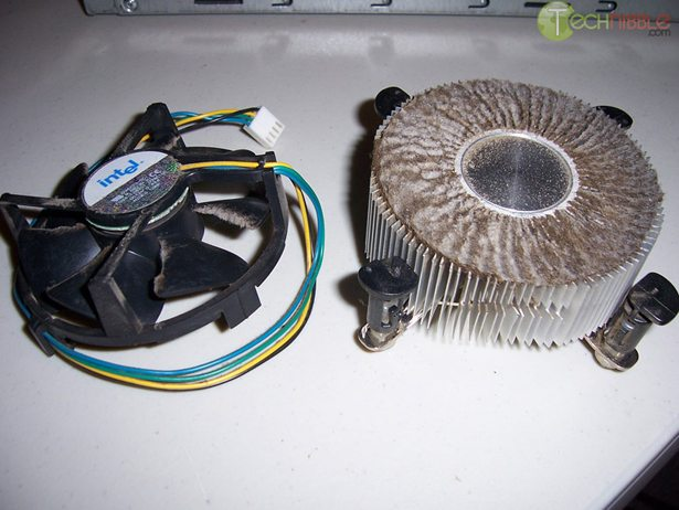 Computer heatsink blocked by cigarette tar and dust