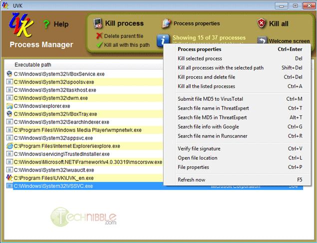 Ultra Virus Killer Process Explorer