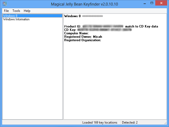 Windows 8 Key Recovery